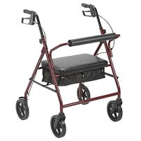 Drive Medical 10216RD-1 Bariatric Rollator with Wheels, Red, 8 Inch