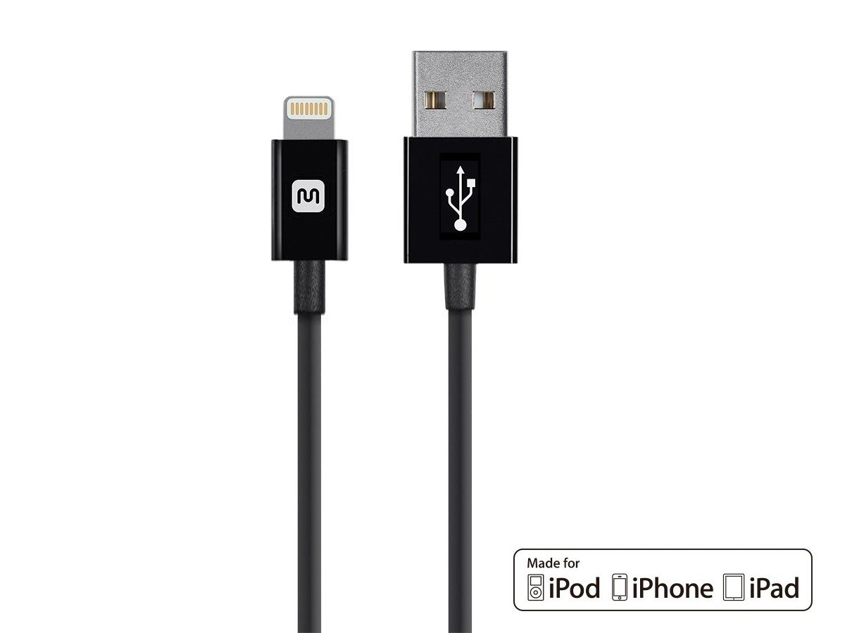 Monoprice Select Series Apple MFi Certified Lightning to USB Charge & Sync Cable, 6-inch Black for iPhone X, 8, 8 Plus, 7, 7 Plus, 6, 6 Plus, 5S, iPad Pro