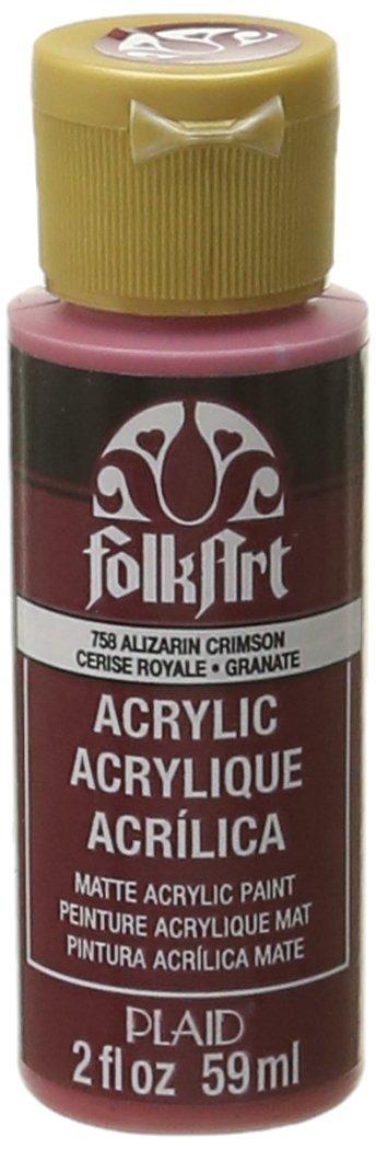FolkArt Acrylic Paint in Assorted Colors (2 oz), 758, Alizarin Crimson