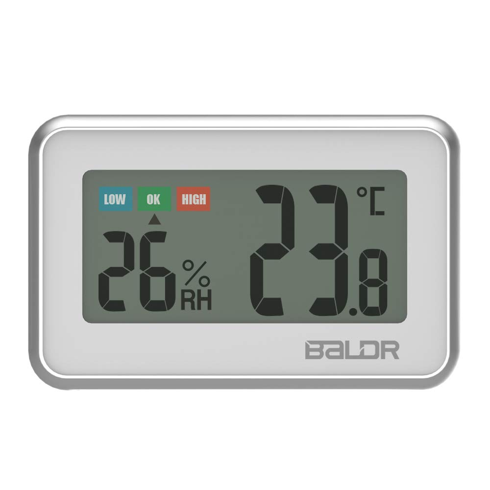 Digital Mini Indoor Thermometer Hygrometer – Fridge Thermometer With Humidity Gauge, Indoor Temperature Monitor, Magnet Attaching For Kitchen Refrigerator, Office & Greenhouse, White