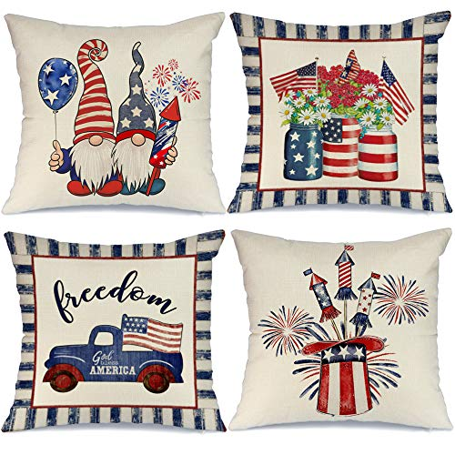 AENEY 4th of July Decorations Pillow Covers 16x16 Set of 4 Memorial Day American Flag Stars and Stripes Patriotic Throw Pillow Covers Gnomes Truck Pillows Case Independence Day Decor for Home A374-16