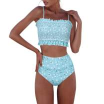 RXRXCOCO Womens Shirred Bandeau Bikini Cute Two Piece Swimsuit Off Shoulder High Waist Bathing Suit