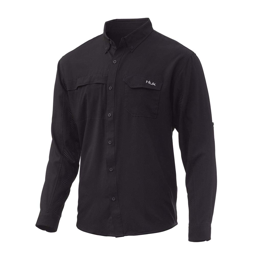 HUK mens Tide Point Woven Solid Long Sleeve Shirt | Button Down Performance Shirt With Upf 30+ Sun Protection