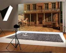 Baocicco 7x5ft Western Cowboy Saloon Backdrop House Horse Carriage Backdrop Vinyl Photography Background America West Desolate Places Wooden Building Log Cabin Post Station Hotel Adventure Travel