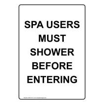 Vertical Spa Users Must Shower Before Entering Sign, White 10x7 in. Plastic for Recreation by ComplianceSigns