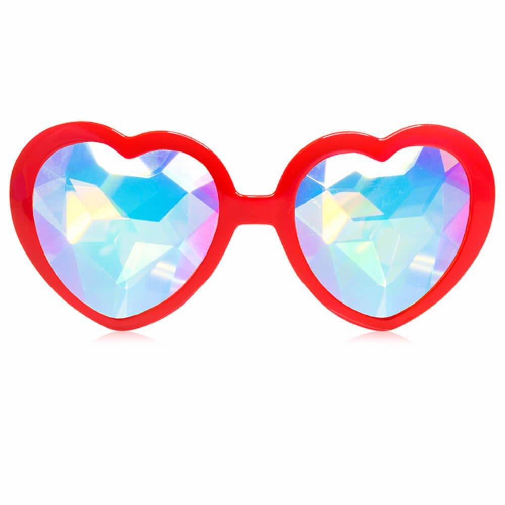 GloFX Red Heart Shaped Kaleidoscope Glasses - festival rave edm concert effect plur
