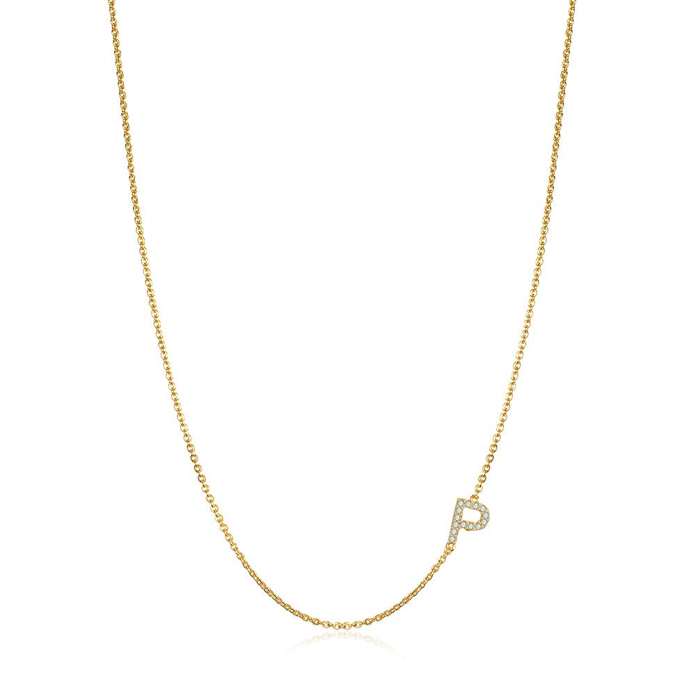Hidepoo Sideways Initial Necklace for Women, 14k Gold Plated Dainty Cubic Zirconia Sideways Alphabet 26 A-Z Letter Necklace, Personalized Tiny Monogram Initial Necklace Gifts for Women Girls