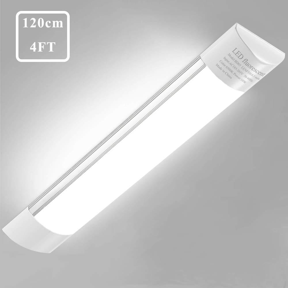 Sararoom 4ft LED Ceiling Light Fixture 40W LED Shop Light, 4500lm, 3200K Warm White, 120cm 47.2inch LED Garage Closet Light Tube Light for Office Home Basement, No Plug, No Ground Wire