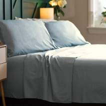 Bamboo Soft - Eco Friendly, Wrinkle Resistant Bamboo Fiber – Hypoallergenic and Breathable Viscose from Bamboo Blend 4pc Sheet Set (Light Blue, King)
