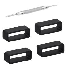 Adebena 4Packs Rubber Leather Watch Band Strap Loops Black Silicone Replacement Resin Watch Bands Keeper Holder Retainer Size 14mm 16mm 18mm 20mm 22mm 24mm 26mm with Removable Tools
