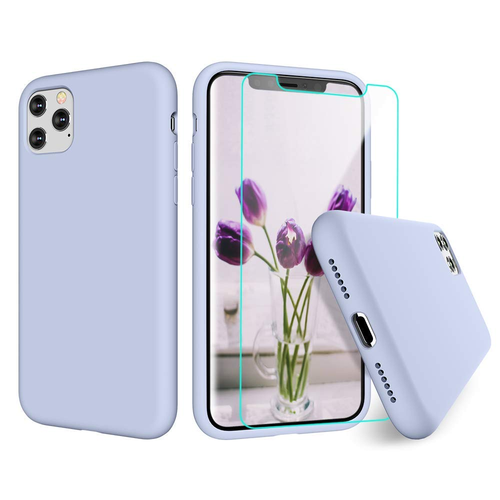 VEGO Compatible for iPhone 11 Pro Liquid Silicone Case, Gel Rubber Case Bumper Slim Girly Women Cute Cover Case with Soft Microfiber Lining Cover Case for iPhone 11 Pro 5.8 inch - Clove Purple