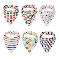 Bandana Bibs Organic and Unisex Drool Bib - Stylish Pack of 6 with a Heat Sensing Spoon - Best for Baby Shower Announcement Party Newborn Registry & Gift Baskets By Elefuntot