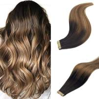 Labeh Tape in Hair Extensions Remy Human Hair Dark Brown Ombre Hair Extensions Mixed Light Brown and Ash Blonde Hair Extensions (14inch 20pcs 50g)