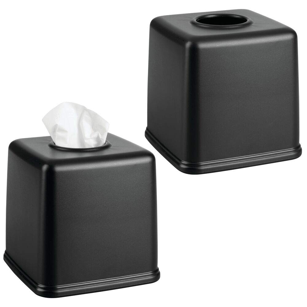mDesign Plastic Square Facial Tissue Box Cover Holder for Bathroom Vanity Countertops, Bedroom Dressers, Night Stands, Desks and Tables - 2 Pack - Black