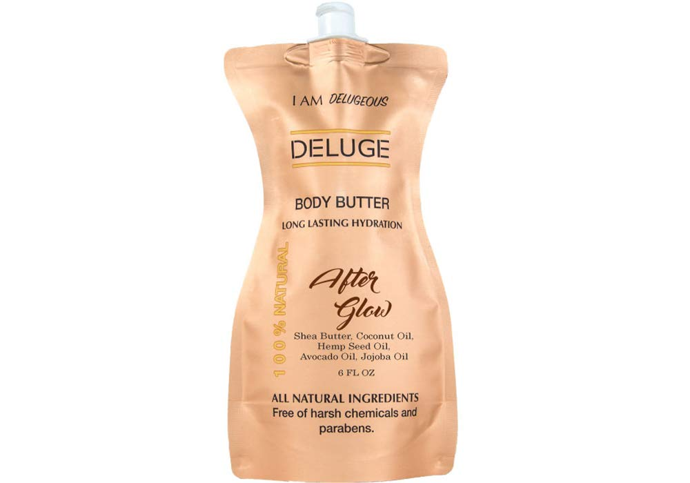 Body Butter- Afterglow -100% Natural. Shea Butter, Coconut Oil, Hemp Seed Oil, Avocado Oil, Jojoba Oil. 6 oz. -Eco-Friendly Packaging.