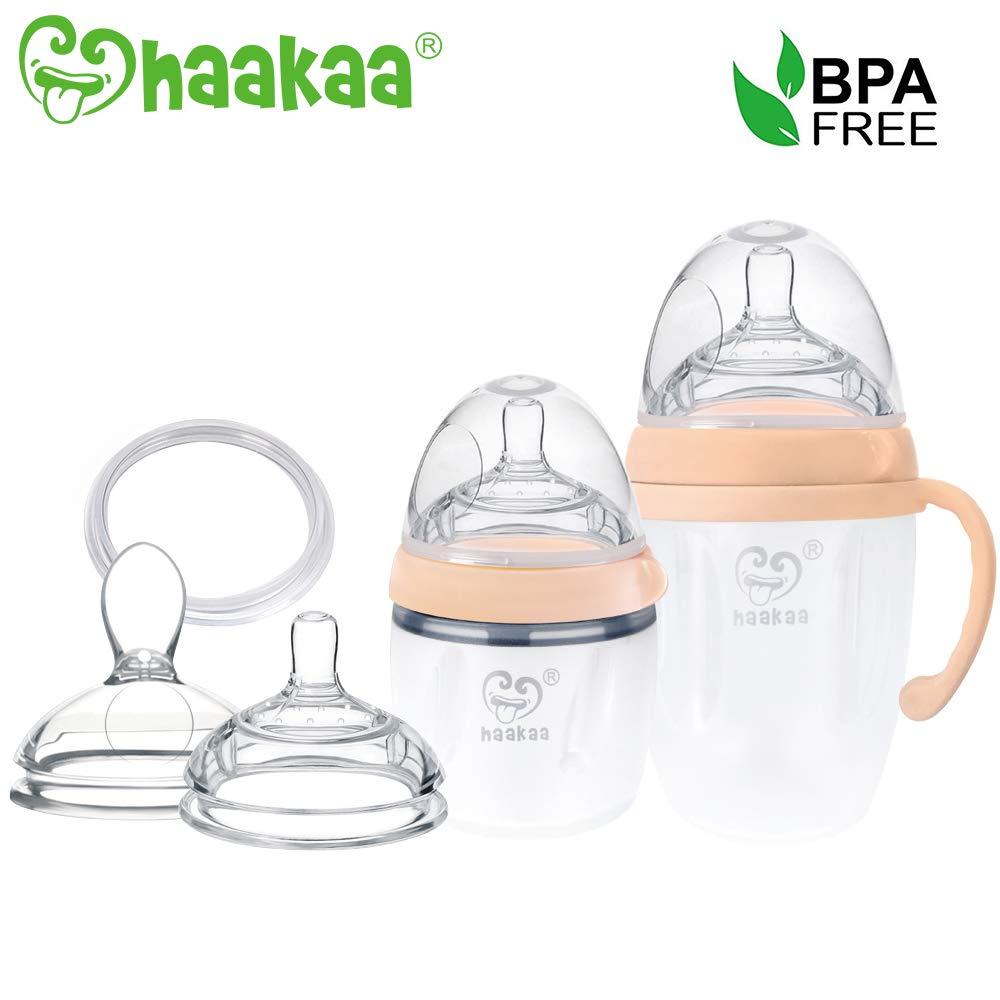 Haakaa Silicone Baby Bottle Milk Bottle Luxury Set, Nude (5oz + 8oz + Parts)