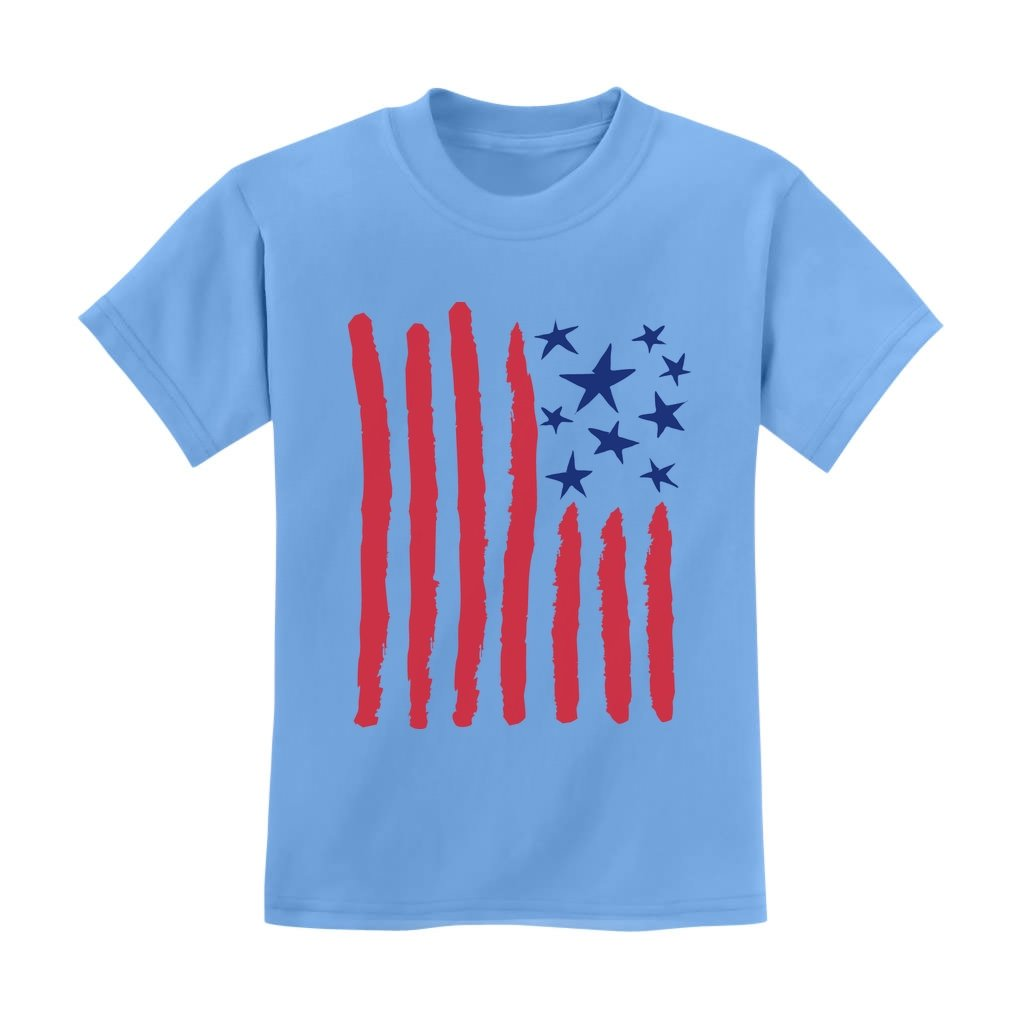 Patriotic Children's Drawing USA Flag 4th of July American Flag Kids T-Shirt