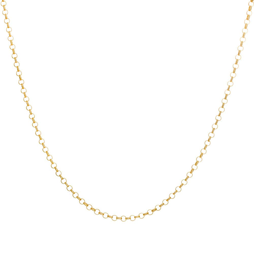 10K Yellow Gold 2.5MM Round Rolo Link Chain Necklace -Unisex Sizes Available-Made in Italy