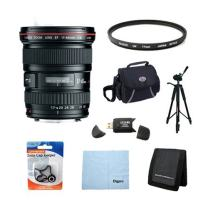 Canon EF 17-40mm f4L USM Ultra Wide Angle Zoom Lens for Canon SLR Cameras with 77mm Multicoated UV Protective Filter, Deluxe Bag + More