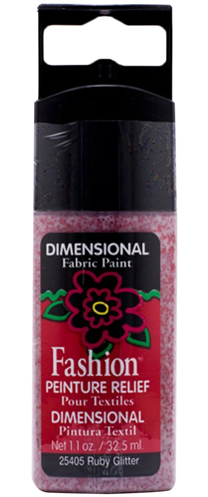 Plaid Fashion Dimensional Fabric Paint in Assorted Colors (1.1-Ounce), 25405 Ruby Glitter