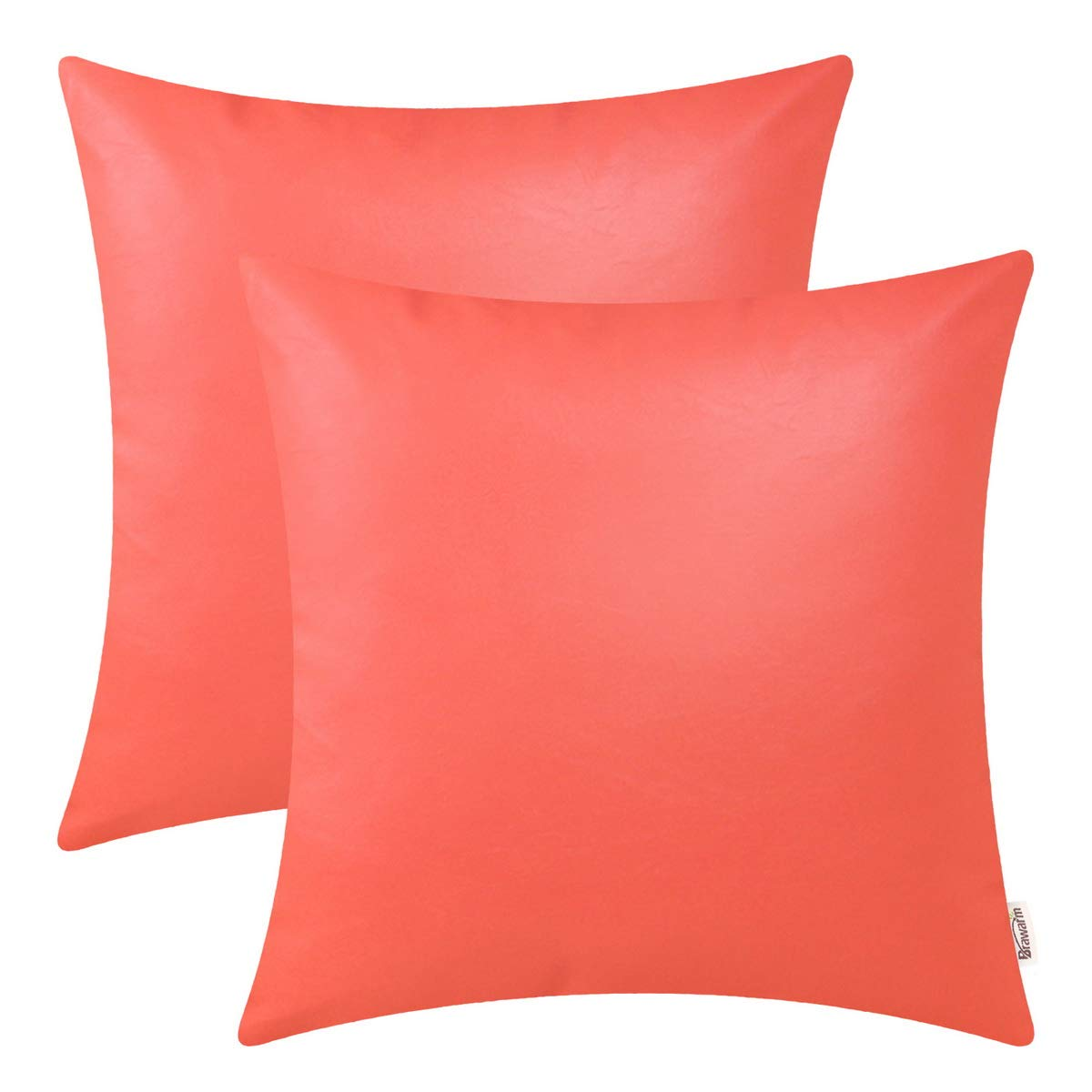 BRAWARM Pack of 2 Cozy Throw Pillow Covers Cases for Couch Sofa Home Decoration Solid Dyed Soft Faux Leather Both Sides 18 X 18 Inches Living Coral