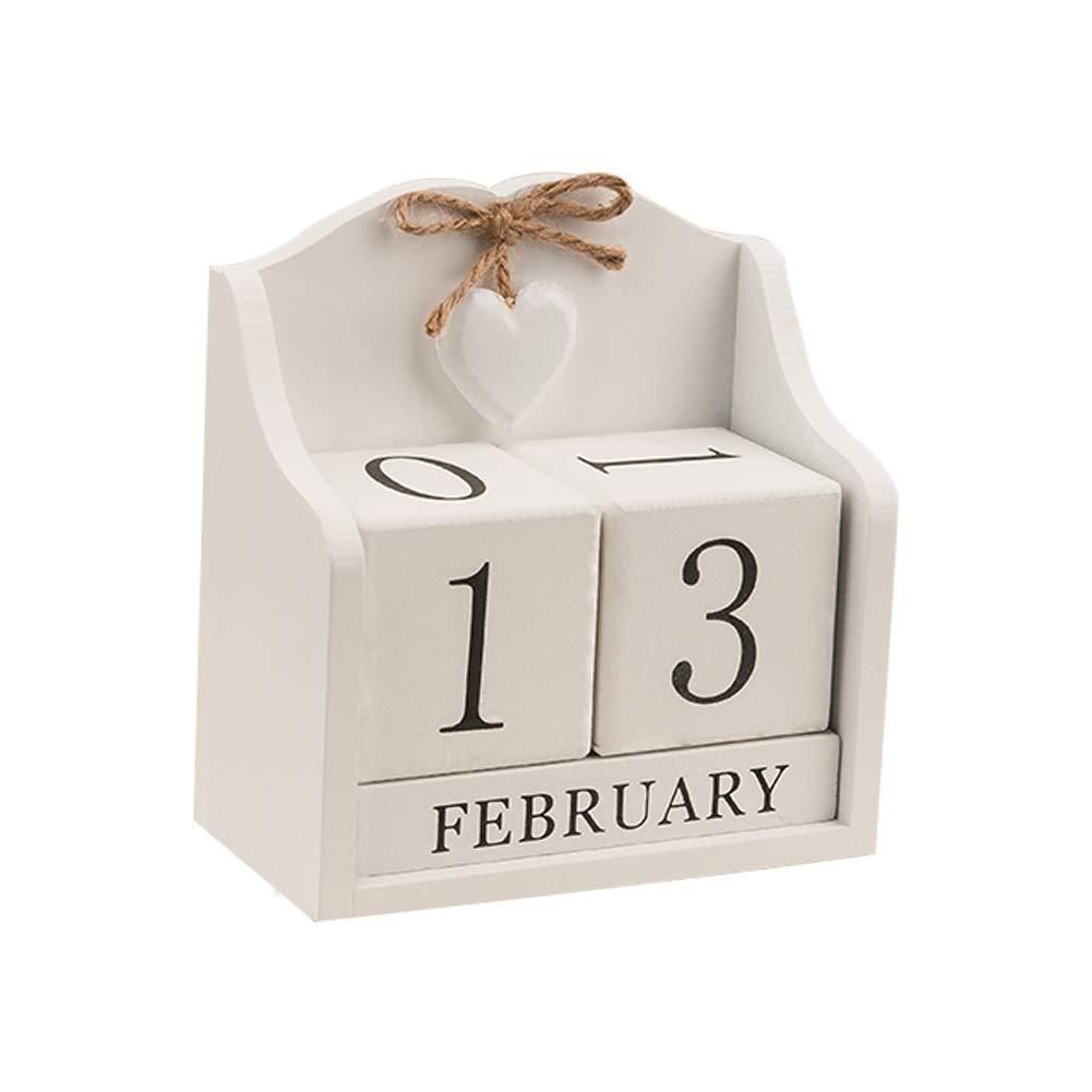 2020 Desk Calendar -Obling Perpetual Calendar Desk 2020, Wooden Block Calendar Office and Home Desktop Decoration(Creamy White)