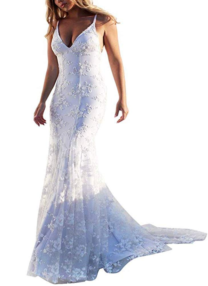 PROMLINK Lace Applique Mermaid Wedding Dress V Neck Ball Gown for Bridal