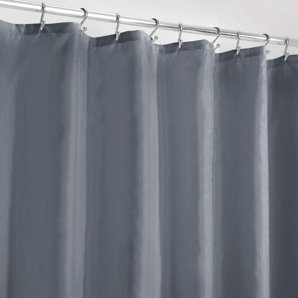 """mDesign Long Water Repellent, Mildew Resistant, Heavy Duty Flat Weave Fabric Shower Curtain, Liner - Weighted Bottom Hem for Bathroom Shower and Bathtub, 72"""" x 84"""" - Lake Blue"""
