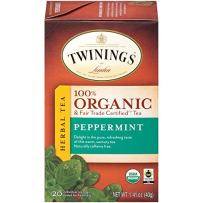 Twinings of London Organic and Fair Trade Certified Peppermint Herbal Tea Bags, 20 Count (Pack of 1)