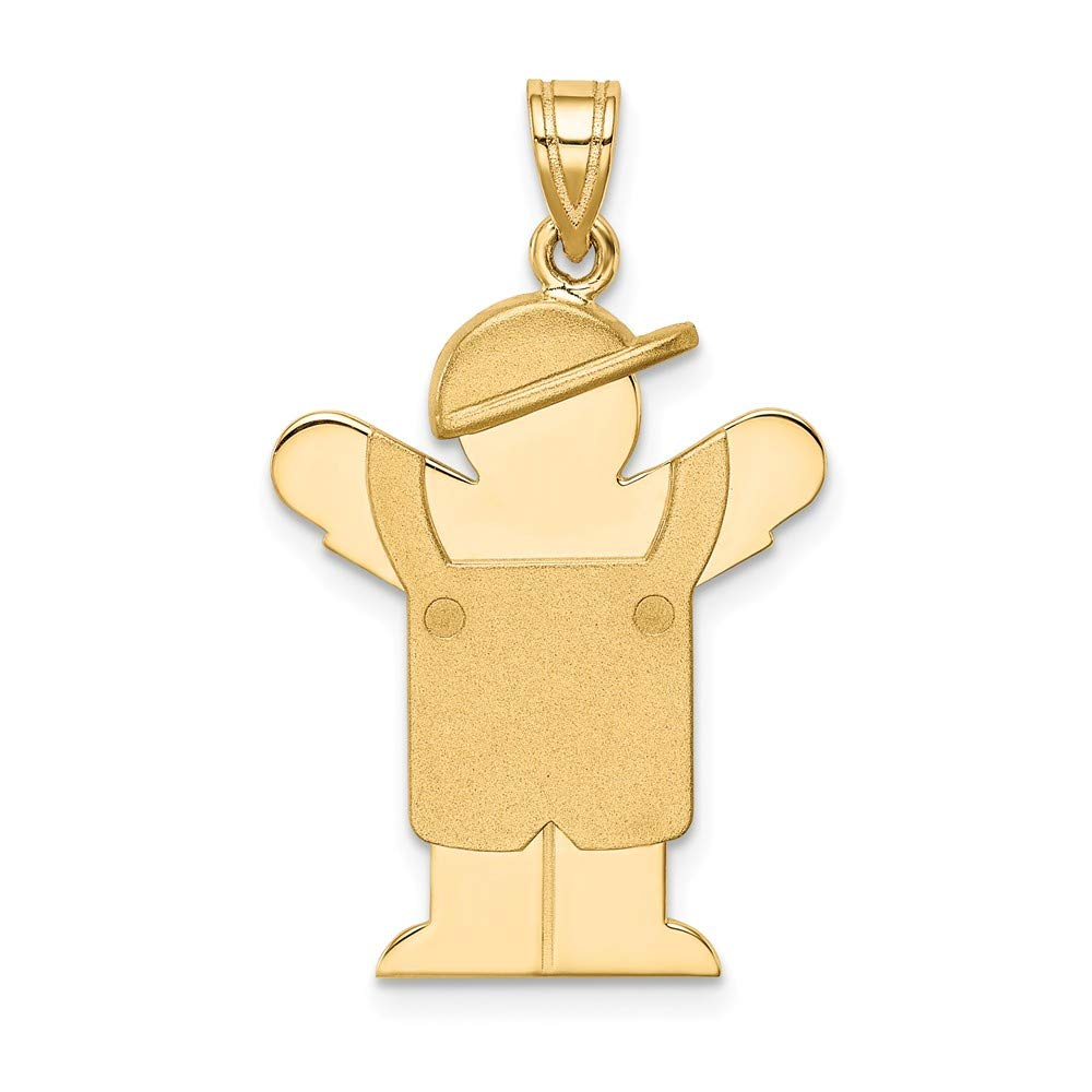 14k Yellow Gold Solid Engravable Boy In Overalls Hat On Left Pendant Charm Necklace Disc Facing Fine Mothers Day Jewelry For Women Gifts For Her