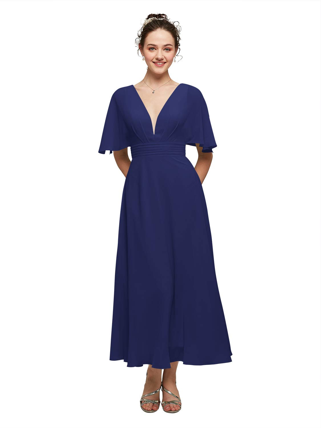 AW BRIDAL Sexy V Neck Bridesmaid Dresses with Sleeves Ankle Length Formal Prom Wedding Guest Dresses for Women