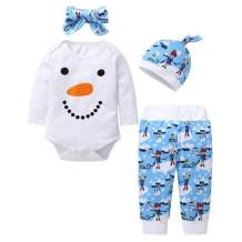 4PCs Baby Christmas Outfits Newborn Boys Girls Clothes Snowman Romper Bodysuit+Printed Pants+Hat+Headband