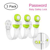 Baby Safety Locks - Vdealen Password Baby Child Proof Locks Adjustable Strap with 3M Adhesive for Electronic Appliances and Furniture Cabinet, Refrigerator, Oven, Drawers, Toilet, etc (Green - 3 Pack)