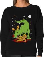 TeeStars - T-Rex Biting Gingerbread Funny Ugly Christmas Women Sweatshirt XX-Large Black