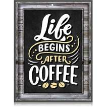 Coffee Signs Kitchen Decor - Life Begins After Coffee Wall Decor Sign - 11.75 inch x 9 inch - Rigid Thick PVC - for Home, Coffee Station, Coffee House Menu - Printed Wood Frame and Chalkboard Look