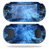 MightySkins Skin Compatible with Sony PS Vita (Wi-Fi 2nd Gen) wrap Cover Sticker Skins Blue Mystic Flames