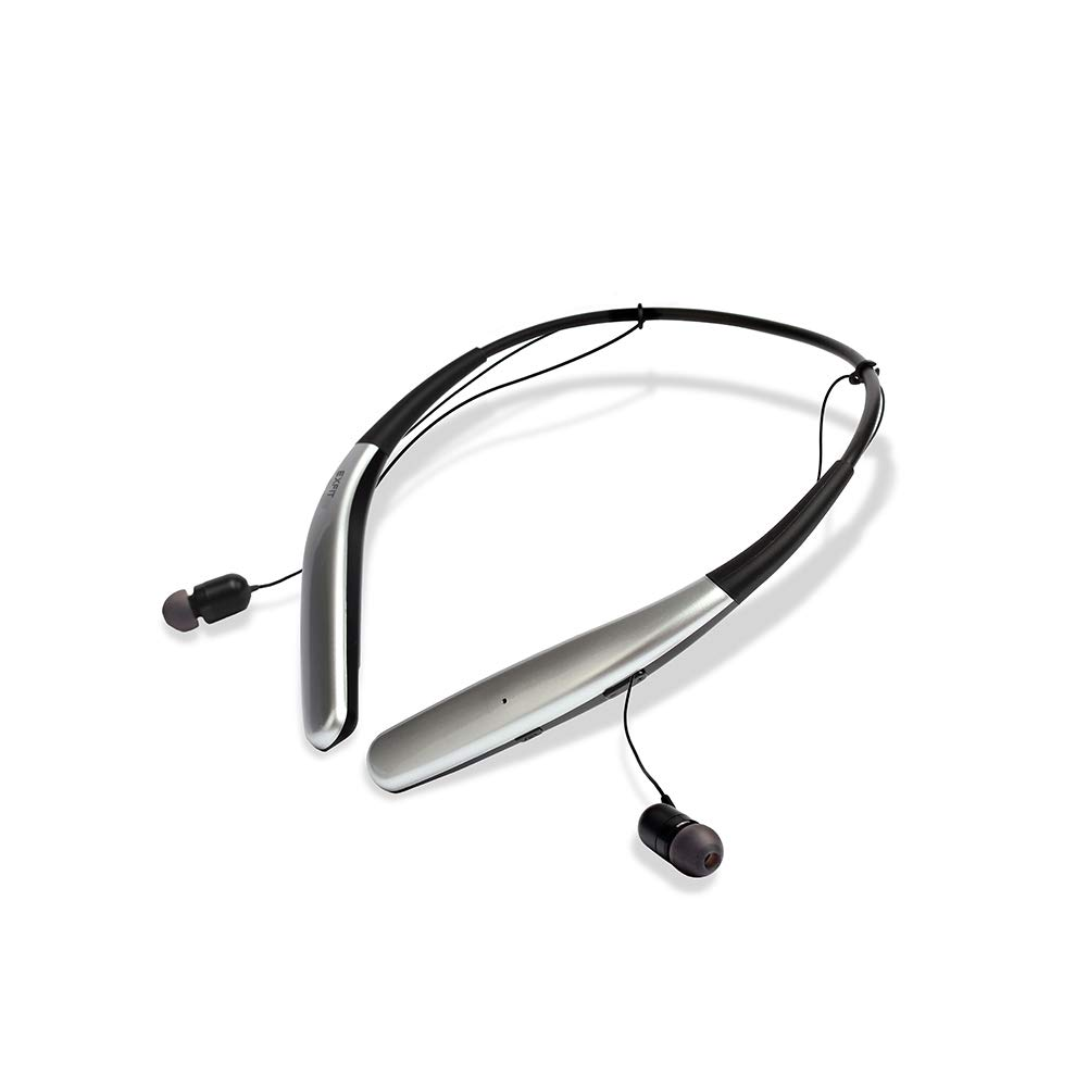 BCS-100 | Cost Effective Wireless Bluetooth Headphones, 14 Hour Battery, Sweat & Splash Resistant (Bright Silver)