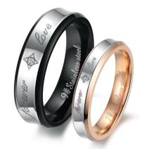 Dreamslink His or Hers (Priced Separate) Forever Love Black & Rose Gold Plated Stainless Steel Titanium Wedding Band Couple Rings (A Pair)