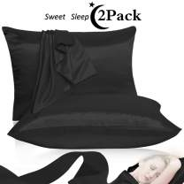 Leccod 2 Pack Shinny Silk Pillowcase with Hidden Zipper, Super Soft and Luxury Satin Pillow Cases Covers for Hair and Skin (Black, Queen : 20x30)