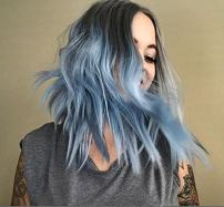 UniWigs New Arrival Heat Friendly Synthetic Fiber Lace Front Wig, Ombre Blue Color Wigs, Short Loose Curl Wig for Fashion Women