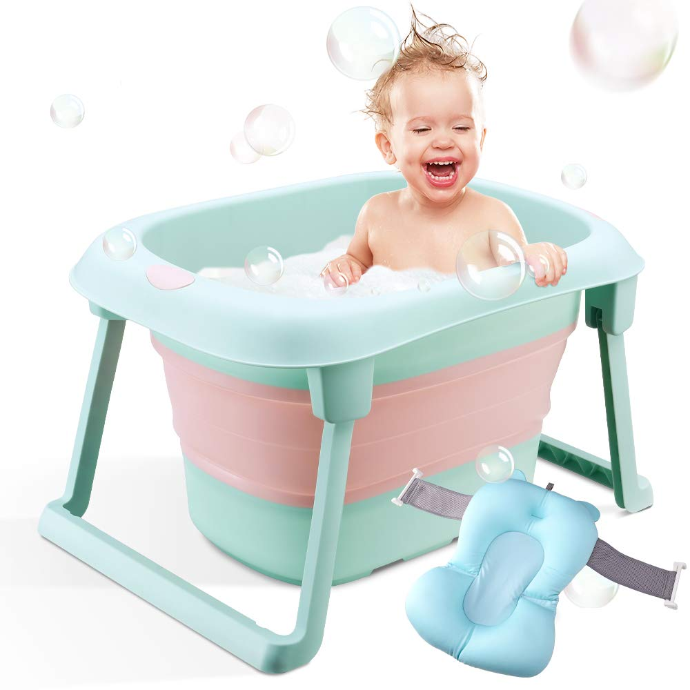BEWAVE Baby Bath Tub, Folding Infant Bathtub, Portable Collapsible Newborn Toddler Bath Support with Cushion for 0-5 Years, Green