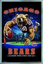 "Trends International NFL Chicago Bears - End Zone, 22.375"" x 34"", Silver Framed Version"