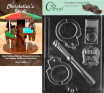 """Cybrtrayd Bk-J078 Policeman Set Chocolate Candy Mold with Chocolatier's Guide Instructions Book Manual, largest 7-3/8"""" x 3/4"""" x 3/8"""" deep, Clear"""