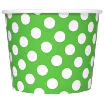 Green Paper Ice Cream Cups - 12 oz Polka Dotty Dessert Bowls - Perfect For Your Yummy Foods! Many Colors & Sizes - Frozen Dessert Supplies - 50 Count