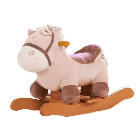 Labebe Baby Rocking Horse Plush Kid Ride On Toys For 1 3 Year Old Toddler Child Wooden Rocking Animal Stuffed Animal Rocker For Girl Boy Outdoor Indoor Ride On Animal For Nursery Brown Donkey