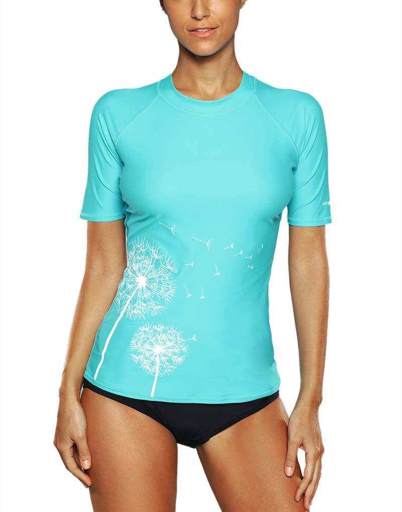 CharmLeaks Women's Short Sleeve Rashguard Swimwear UPF 50+ Rash Guard Athletic Tops