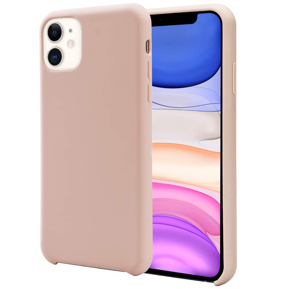 Orzero Liquid Silicone Gel Rubber Case Compatible for iPhone 11 2019, Full Body Shock Absorbing Ultra Slim Protective (Baby Skin Touch) -Pink