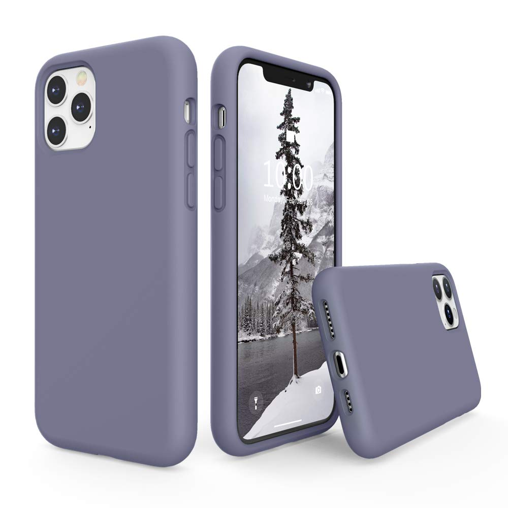 SURPHY Silicone Case Compatible with iPhone 11 Pro Max Case 6.5 inch, Liquid Silicone Full Body Thickening Design Phone Case (with Microfiber Lining) for iPhone 11 Pro Max 6.5 2019, Lavender Gray