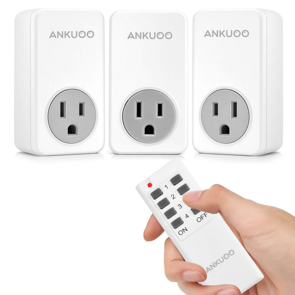 Remote Control Outlet Wireless Light Switch Power Plug by Ankuoo,Wireless Outlet for Lamps,Electrical Appliances,Up to 100 ft. Range,White (1 Remote + 3 Outlet)