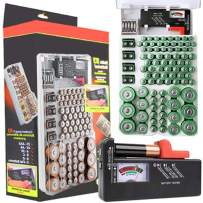 CONNYAM Battery Organizer Storage Case with a Battery Tester, Battery Holder Holds 93 Batteries Various Sizes for AAA, AA, 9V, C, D and Button Battery
